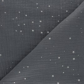 Double cotton gauze fabric - dark grey  Silver Galaxy x 10cm