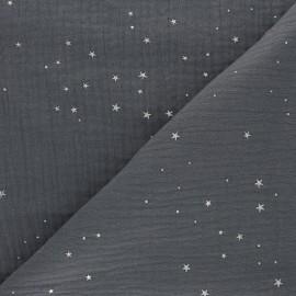 Tissu double gaze de coton Galaxie argentée - anthracite x 10cm