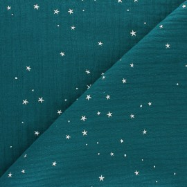Double cotton gauze fabric - fig Silver Galaxy x 10cm