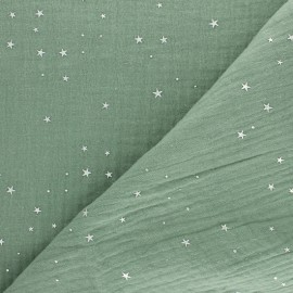 Double cotton gauze fabric - Eucalyptus Silver Galaxy x 10cm