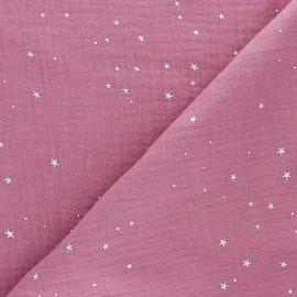 Tissu double gaze de coton Galaxie argentée - Bois de rose x 10cm