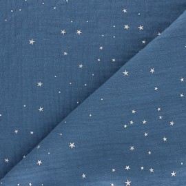 Double cotton gauze fabric - swell blue Silver Galaxy x 10cm