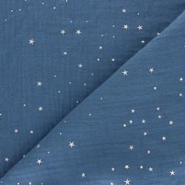 Tissu double gaze de coton Galaxie argentée - bleu houle x 10cm