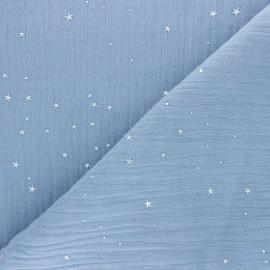 Tissu double gaze de coton Galaxie argentée - bleu ciel x 10cm