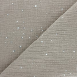 Double cotton gauze fabric - raw Silver Galaxy x 10cm