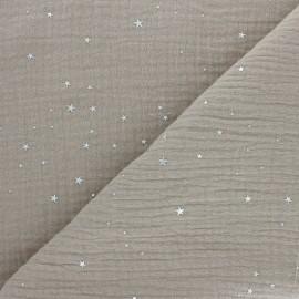 Tissu double gaze de coton Galaxie argentée - taupe x 10cm