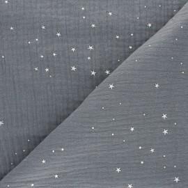 Tissu double gaze de coton Galaxie argentée - gris x 10cm