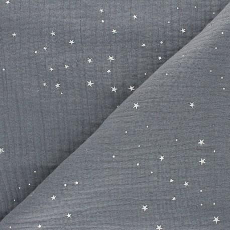 Double cotton gauze fabric - grey Silver Galaxy x 10cm