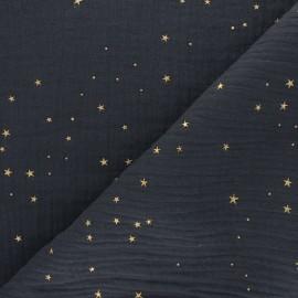 Tissu double gaze de coton Galaxie dorée - noir x 10cm