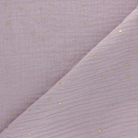 Tissu double gaze de coton Galaxie dorée - Eau de rose x 10cm