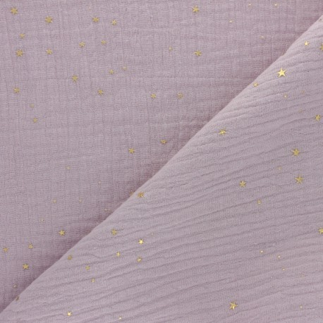 Double cotton gauze fabric - white Gold Galaxy x 10cm