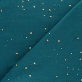 Double cotton gauze fabric - peacock green Gold Galaxy x 10cm
