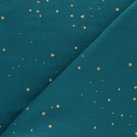 Tissu double gaze de coton Galaxie dorée - vert paon x 10cm