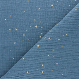 Tissu double gaze de coton Galaxie dorée - bleu houle x 10cm