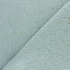 Double cotton gauze fabric - opaline green Gold Galaxy x 10cm