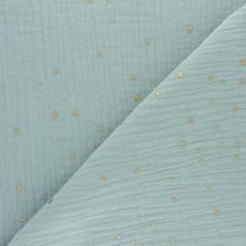 Tissu double gaze de coton Galaxie dorée - vert opaline x 10cm