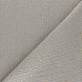 Double cotton gauze fabric - light taupe Gold Galaxy x 10cm