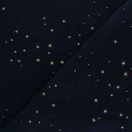 Tissu double gaze de coton Galaxie dorée - bleu marine x 10cm