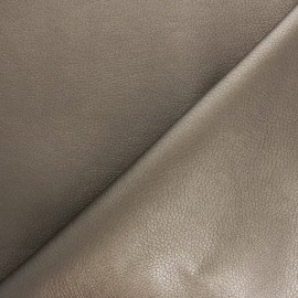 Imitation leather fabric - Taupe Louxor x 10cm