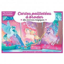 Cartes Pailletées à Broder - Les licornes magiques