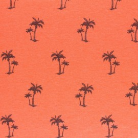 mottled Jersey fabric - orange Palm tree x 10cm