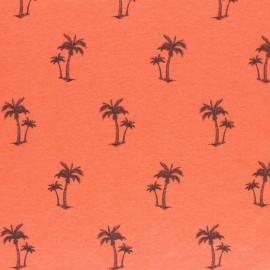 mottled Jersey fabric - orange Palm tree x 10cm