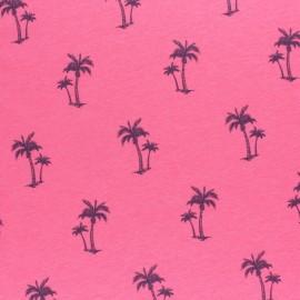 Tissu jersey fluo chiné Palmier - rose x 10cm