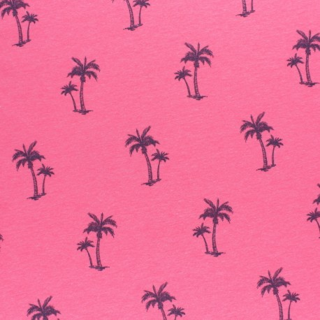 mottled Jersey fabric - neon pink Palm tree x 10cm