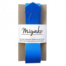 Miyako leather handle - Electric blue