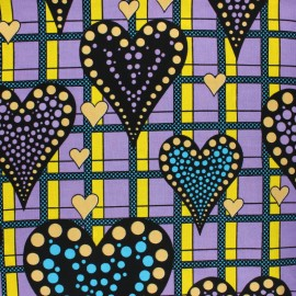 Metallic Wax print fabric - Purple Erindi x 10cm
