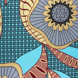 Tissu Wax Métallisé Mupa - bleu ciel x 10cm