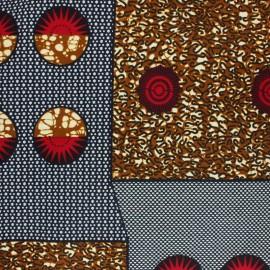 Tissu Wax Zulu - Rouge x 10cm
