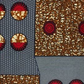 Wax print fabric - Beige Majete x 10cm