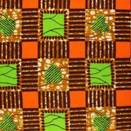 Tissu Wax Dorob - marron x 10cm
