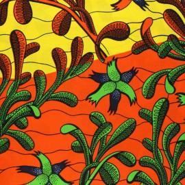 Wax print fabric - yellow Makaukau x 10cm