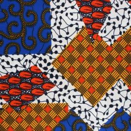 Tissu Wax Yankau - blanc x 10cm