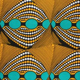 Tissu Wax Lomami - orange x 10cm