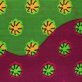 Tissu Wax Zambezi - vert x 10cm