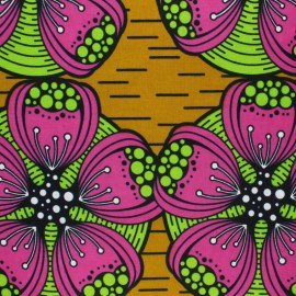 Wax print fabric - yellow Kalahari x 10cm