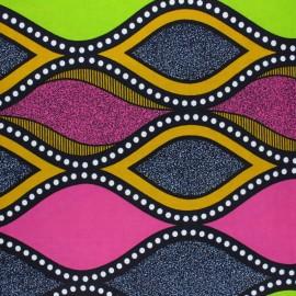 Tissu Wax Khutse - jaune x 10cm