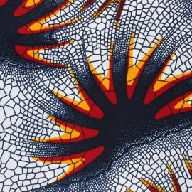 Tissu Wax Hwange - blanc x 10cm