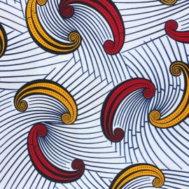 Wax print fabric - White Hwange x 10cm