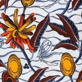 Tissu Wax Bwabwata - blanc x 10cm