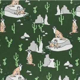 Tissu jersey Timon le Suricate - vert x 10cm