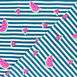 Striped Jersey fabric - Green Neon Watermelon x 10cm