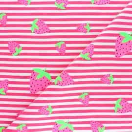 Striped Jersey fabric - Pink Neon Strawberry x 10cm