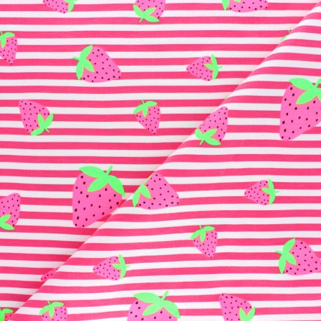 Striped Jersey fabric - Navy Blue Neon Strawberry x 10cm