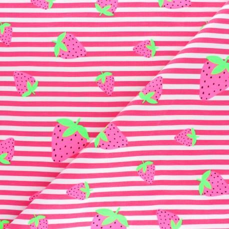 Striped Jersey fabric - Navy Blue Neon Strawberry x 10cm