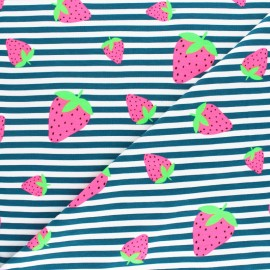 Tissu jersey à rayures fraise fluo - rose x 10cm