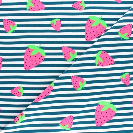 Striped Jersey fabric - Pink Neon Strawberry x 10cm